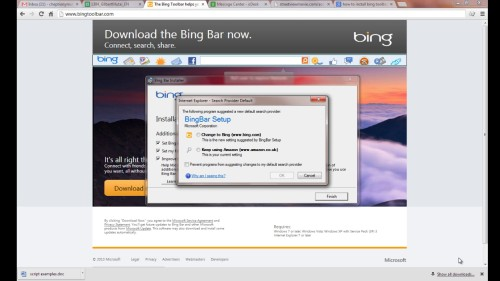 select 'change to Bing' and click ok