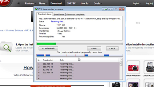 Trying out a download with Internet Download Manager
