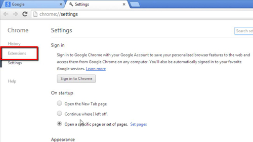 Opening the extensions area of Google