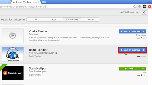 Selecting the toolbar that you want to install