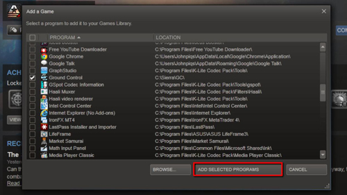 Adding the program to the Steam interface
