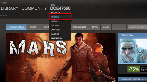 Navigating to your profile within Steam