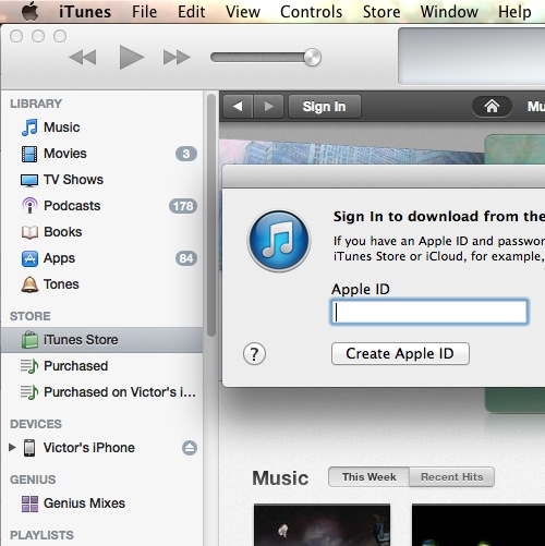Click on Create Apple ID at iTunes Store Sign In
