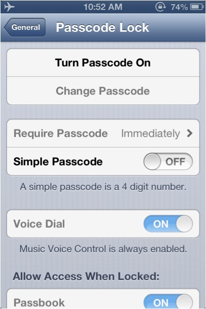 Tap 'Turn Passcode On' to activate passcode