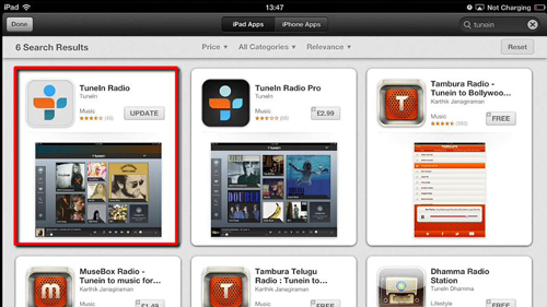 The TuneIn app in the App Store