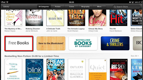 Finding a book to download in iBooks