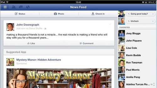 The app successfully integrated with Facebook for iPad