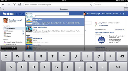 Searching for a Facebook game in Safari
