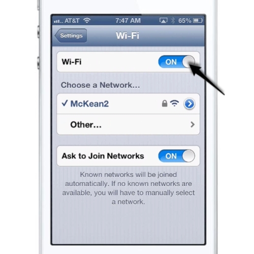 iOS Wi-Fi Settings screen