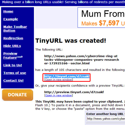 Copy the link created by tiny url