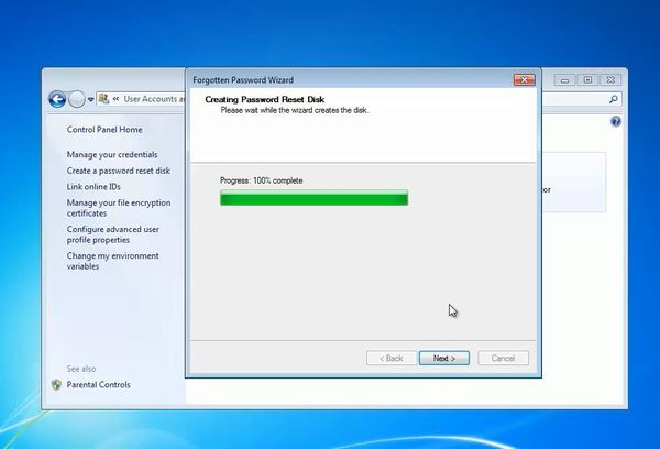 password reset disk created
