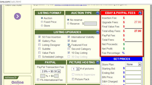 Finding your listing fees