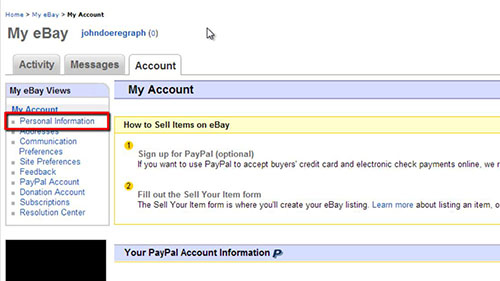 The personal information area in eBay