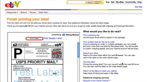 Click 'print label' button to print your label