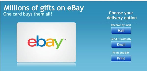 eBay Gift Card delivery options