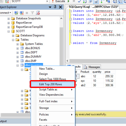 Inserting data in Table Rows