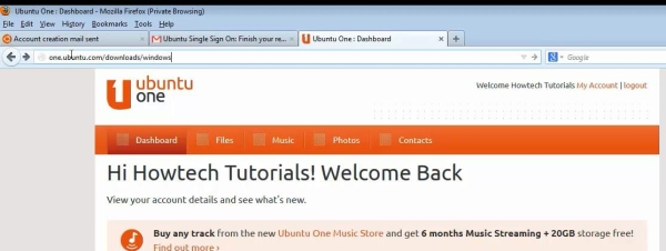 sign in to Ubuntu One account