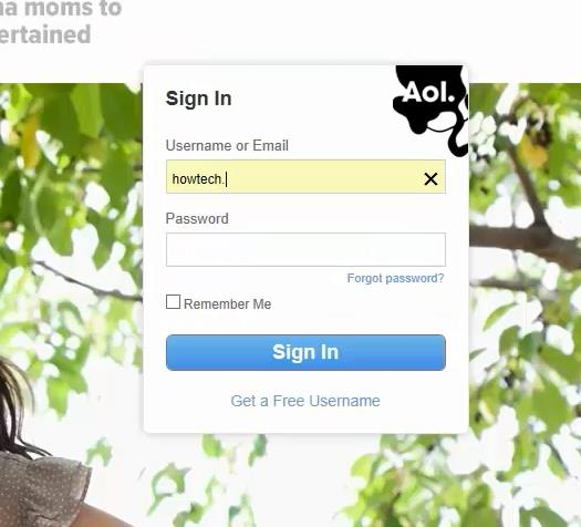 open web browser and log in to your AOL account