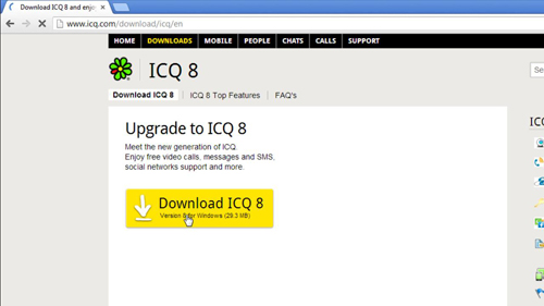 Navigating to the ICQ download page