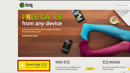 Downloading the ICQ chat client