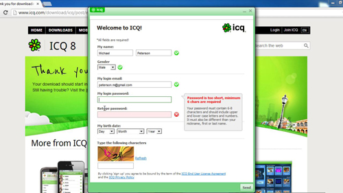 Registering for an ICQ account