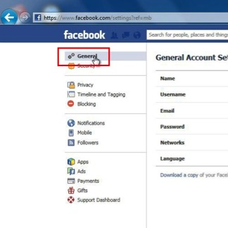 "select ""General"" from Facebook settings"