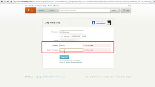 Enter password and confirm e-mail