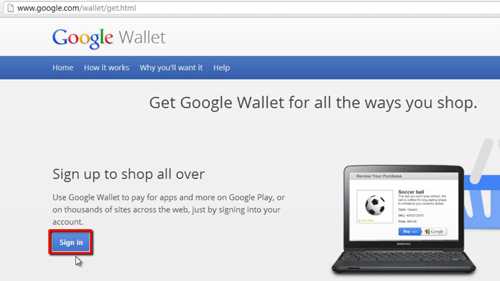 Signing into Google Wallet