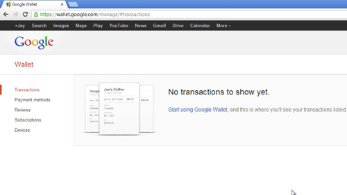 Viewing your Google Wallet