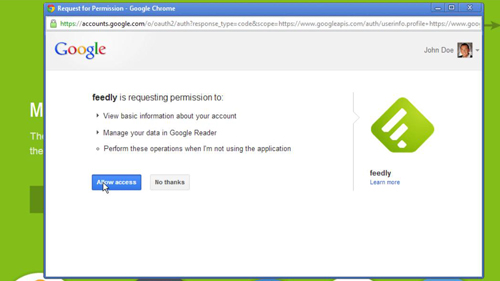 Allowing Feedly access to your Google account