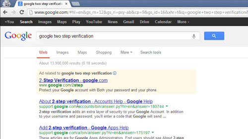 Navigating to the 2-step verification page