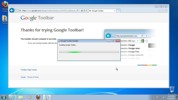 finish setup of Google toolbar