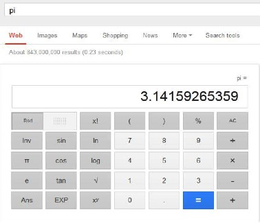 unit conversion, mathematical constants and currency conversions with Google calculator