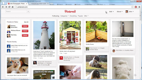 The Pinterest homepage