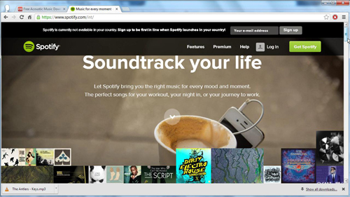 The Spotify homepage