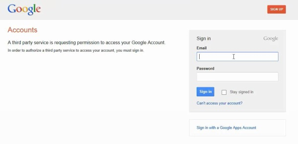 log in to Youtube with Google credentials