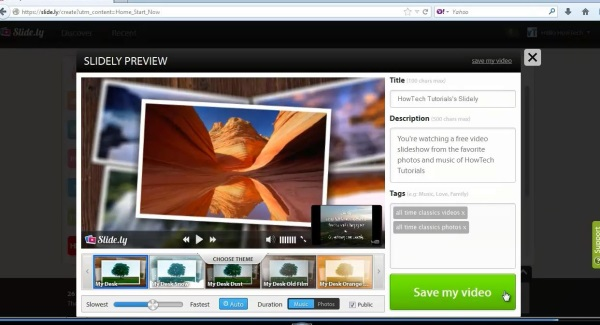 customize and save slideshow
