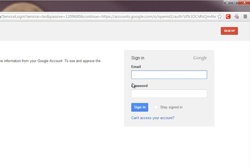 Simply login with you Gmail account