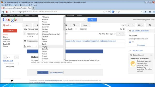 click small triangle and select Translate message