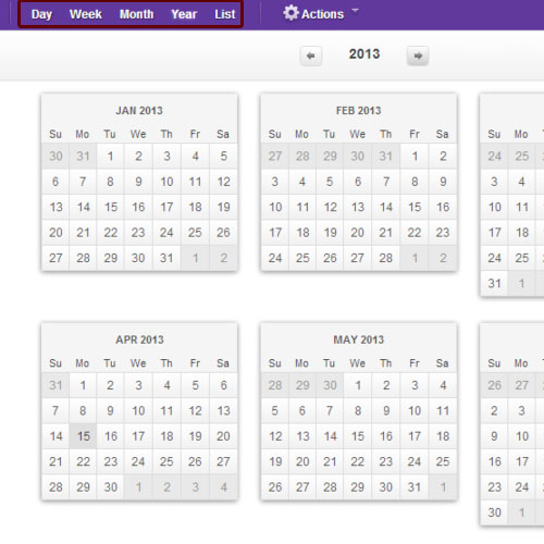 Change the calendar view
