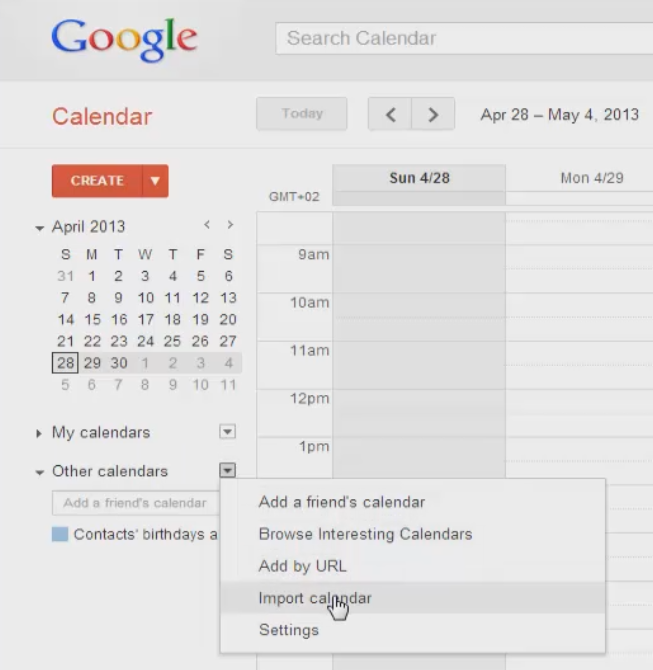 select and import calendar