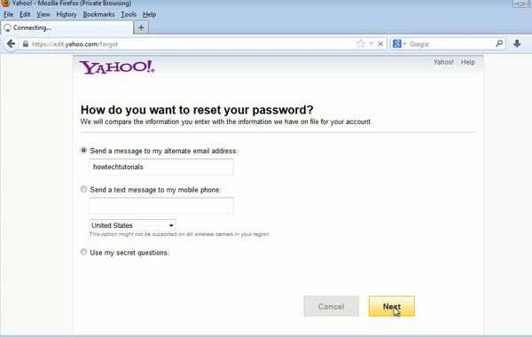 choose the password reset option
