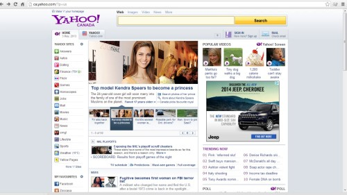 Go to yahoo.com on your browser