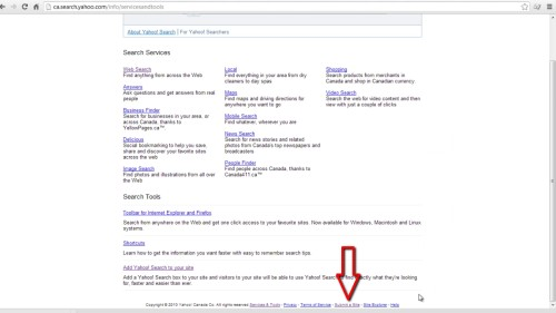 Click 'submit a site for free' on the new window. You will be redirected to Bing.