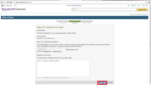 select your yahoo profile and e-mail address