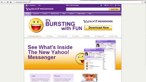 login to messenger.yahoo.com and download
