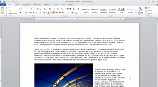 open Word document