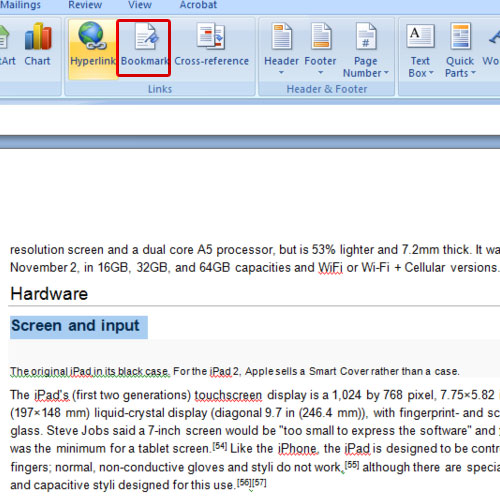 Bookmark feature in Word