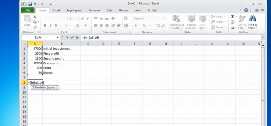 type in formula and calculate results