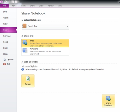 Sync OneNote with SkyDrive folder
